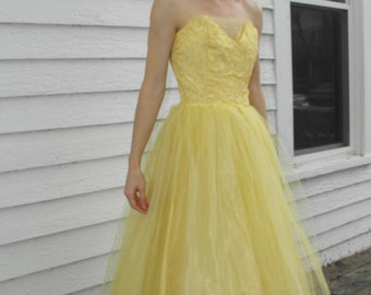 50s Prom Dress Yellow Tulle Strapless Party Formal Cupcake Vintage XS XXS