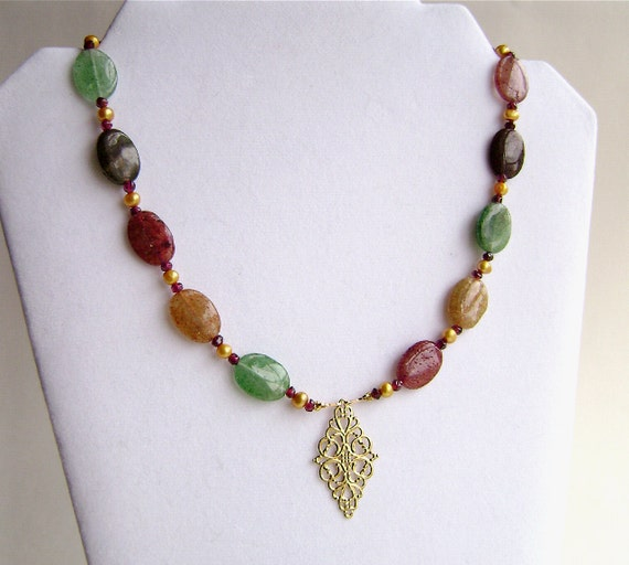 Indian Aventurine Necklace, Garnets, Cultured Pearls, Gemstone Jewelry, Gold, Red, Green, Golden, Brown, Wine, Forest, Tan, Filigree, 252