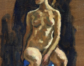 Figure Painting, Seated Female Nude. Original Oil on Canvas, Small Realist Figure Study, Signed Original Impressionist Fine Art from Life