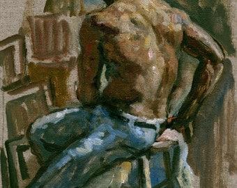 Twist. Seated Male Nude, 12x8 Oil on Canvas, Realist Figurative Fine Art, Original Male Figure Painting, Signed Original Oil Painting