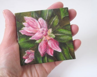 Small Floral Still Life Painting, Original Acrylic Mini Painting on Canvas, Pink Flower Garden Art