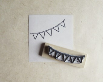 Bunting / Banner Hand Carved Rubber Stamp