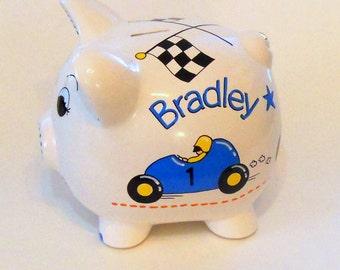 Race Car Piggy Bank Personalized
