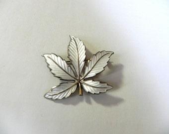 Vintage Sterling Enamel Brooch - Bernard Meldahl - Norwegian - Moderist Silver Maple Leaf - on sale