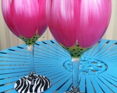 Hand Painted Oversized Floral Wine Glass