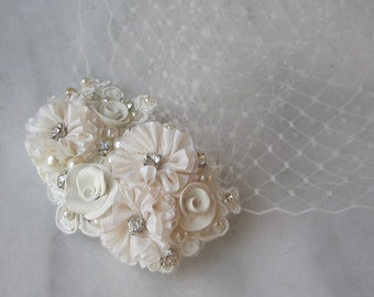 Ivory Birdcage Veil and Fascinator, Bridal Fascinator and Bird Cage Bandeau Veil with Rhinestones, Pearls, Vintage Style  - COLETTE