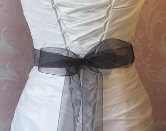 Black Organza Ribbon, 1.5 Inch Wde, Ribbon Sash, Bridal Sash, Wedding Belt, 4 Yards