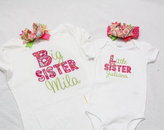 Big Sister Shirt and Little Sister Bodysuit with Hairbows- Personalized Big/Middle/Little Sis Shirt or Bodysuit and Hairbow