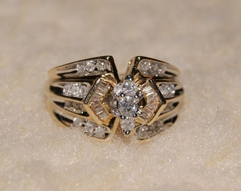 Price reduced %  Vintage Yellow & White Diamond Engagement Ring