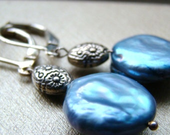 Blue Keshi Pearl Sterling Silver Earrings