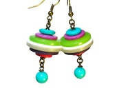 Funky Eclectic Jewelry, Button Dangle Earrings,  Lime Turquoise, Upcycling, Repurposed