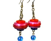 Colorful Button Dangle Earrings, Repurposed Buttons, Upcycled Jewelry