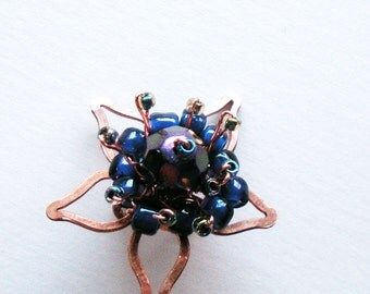 Flower Handmade Ear Cuff with Purple Glass and Copper Wire