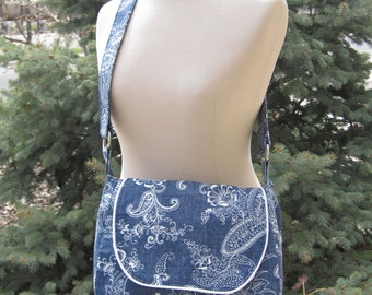 Crossbody Purse in Blue & White Paisley