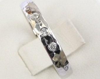 Diamond engagement ring women's wedding ring hammered ring white gold ring