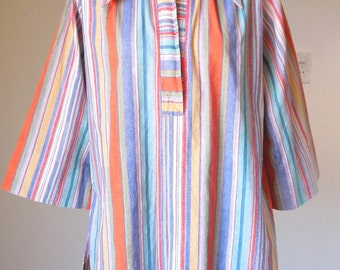 LAST CHANCE SALE...Vintage 70's Stripe Shirt, BeACHY BoHO, Bright Orange, White, Blue,Turquoise, Women's Size Medium to Large