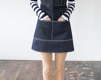 Y-Strap Artisan Apron in Cone Denim & Saddle Leather