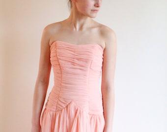vintage 50s dress - 1950s ruched dress - peach prom dress xs