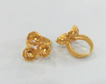 Adjustable Ring Base Blank  (9mm Blank)   Gold Plated Brass  G122
