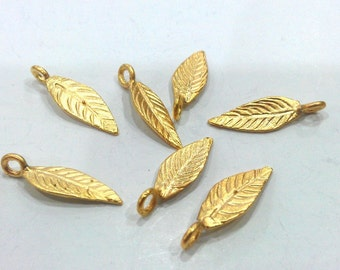 10 Pcs Gold Plated Brass  Leaf Charms  G344