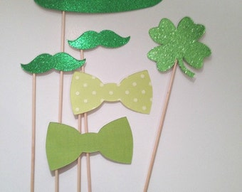 Saint Patricks Day Photo Booth Prop Set Green Mustache on a stick St Pattys Day Props
