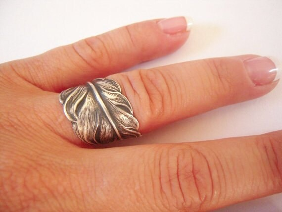 Steampunk Angel Feather Ring- Sterling Silver Ox Finish- Adjustable- Feather Ring