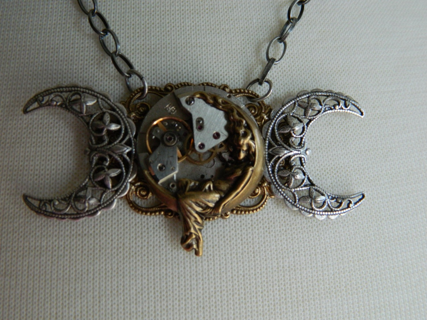Steampunk Goddess Triple Moon Goddess Necklace By Crow Haven