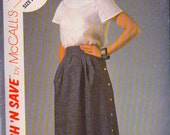 Stitch N Save 8892 by McCalls UNCUT 1980s Vintage Sewing Pattern Skirt and Blouse Bust 30-32 Inches Size 6-10