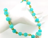 Amazonite Smooth Rounds with Peridot, Necklace