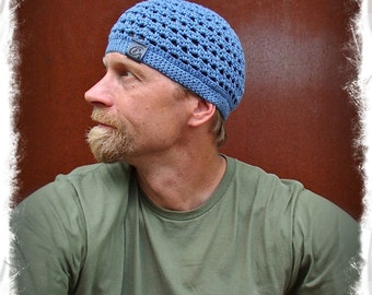 Dusty Blue Cotton Beanie For Men Crochet Cotton Hat Kufi