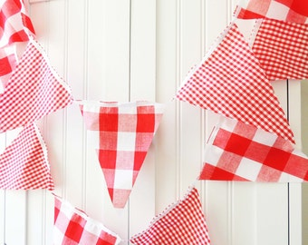 Gingham Banner, Bunting, Fabric Pennant Garland Flags, Baby Shower, Vintage Style Gingham Red Party, Wedding, Birthday Party, Photo Prop