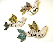 Custom Poetry Bird Wall Sculpture - HandMade To Order DEPOSIT - Personalized Rustic Inspirational Quote Fine Art Hanging Sign Plaque