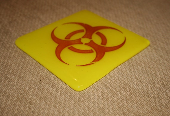 Bright Yellow Scientific Hazard Symbol Coasters