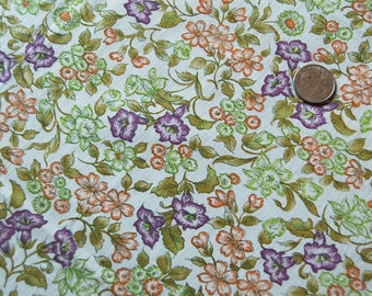 1940's Floral Fabric Vintage Cotton- Bright Lavender Trumpet Vine Lime Green Zinnia's- Quilting