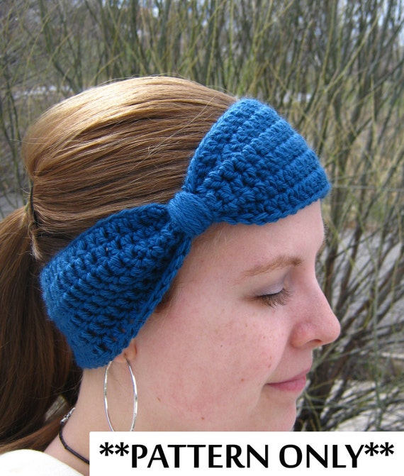 Free Crochet Ear Warmer Patterns For Adults : Crochet Pattern for Bow Headband Ear Warmer for by ...