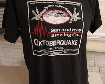 vintage (t shirt) SAN ANDREAs BREWiNG Co Oktoberquake Beer Richter Scale Ale (43 inches around chest)