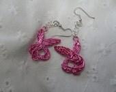 Pink Wire Bunny Earrings