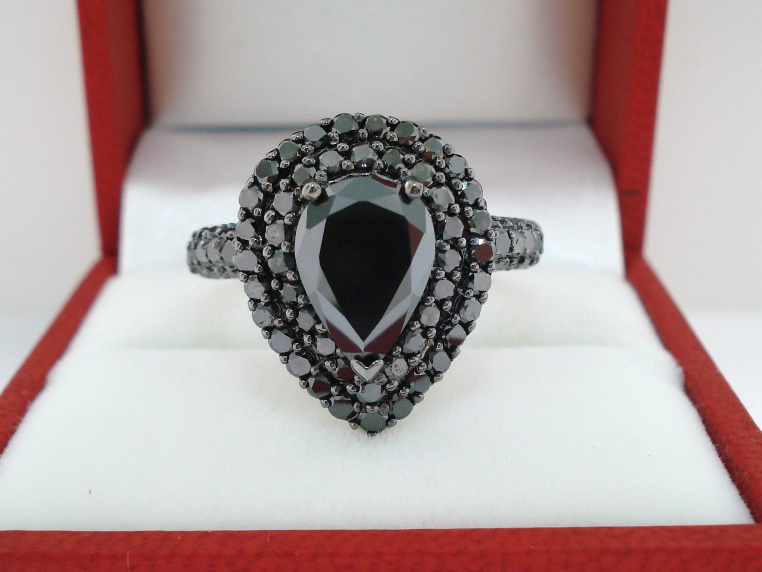 Pear Shape Black Diamond Engagement Ring Double Halo Pave 14k