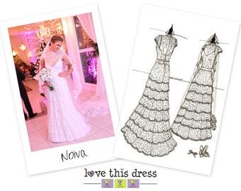 8.5 x 11.5 Custom Wedding Gown Sketch - Front & Back