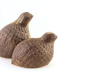 Vintage Brass Quail Figurines Set of 2 Partridges Birds