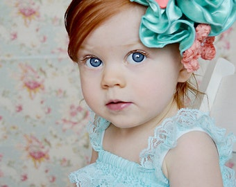 Grand Mint Satin Bloom Headband, Coral Rose Headband, Soft Stretch Baby Band, Over the Top Flower, Birthday Headband, Photography Prop