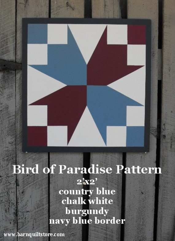 Painted wood barn quilt bird of paradise pattern