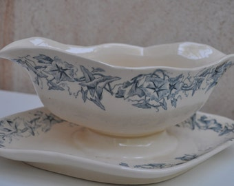 French Ironstone Tableware  Sauce or Gravy Boat - Longchamp Terre de Fer
