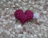 Hot Pink Puffy Glitter Heart Hair Clip - No Slip Grip - Baby - Toddler - Girl - Teen - Adult Hair Clip