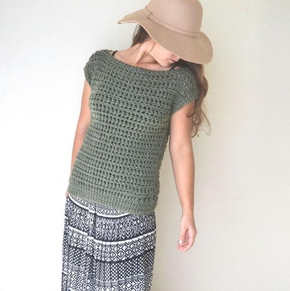 Crochet Yacht Patterns : Crochet PDF Pattern Open Work Boat Neck Sweater Layering Top Three ...