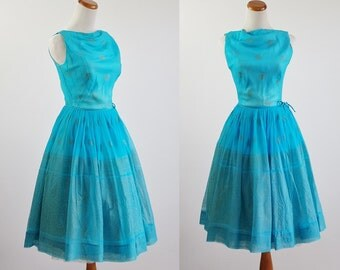 Vintage 50s Dress, 60s Cocktail Dress, Aqua Blue Chiffon Full Skirt Dress, 50s Party, Vintage for Upcycle Craft Repair Study AS IS -- Small