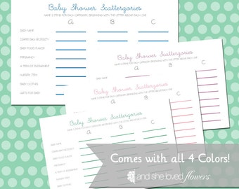 Baby Shower Scattergories -- Customizable, DIY Printable Game Cards