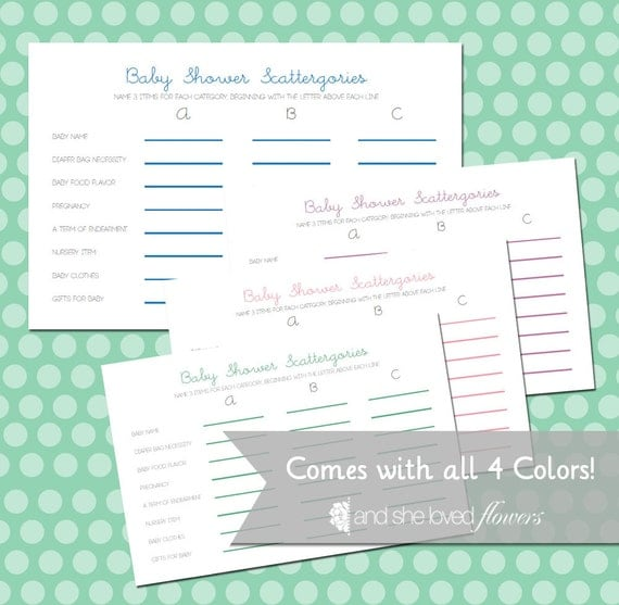 Baby Shower Scattergories Customizable DIY Printable Game