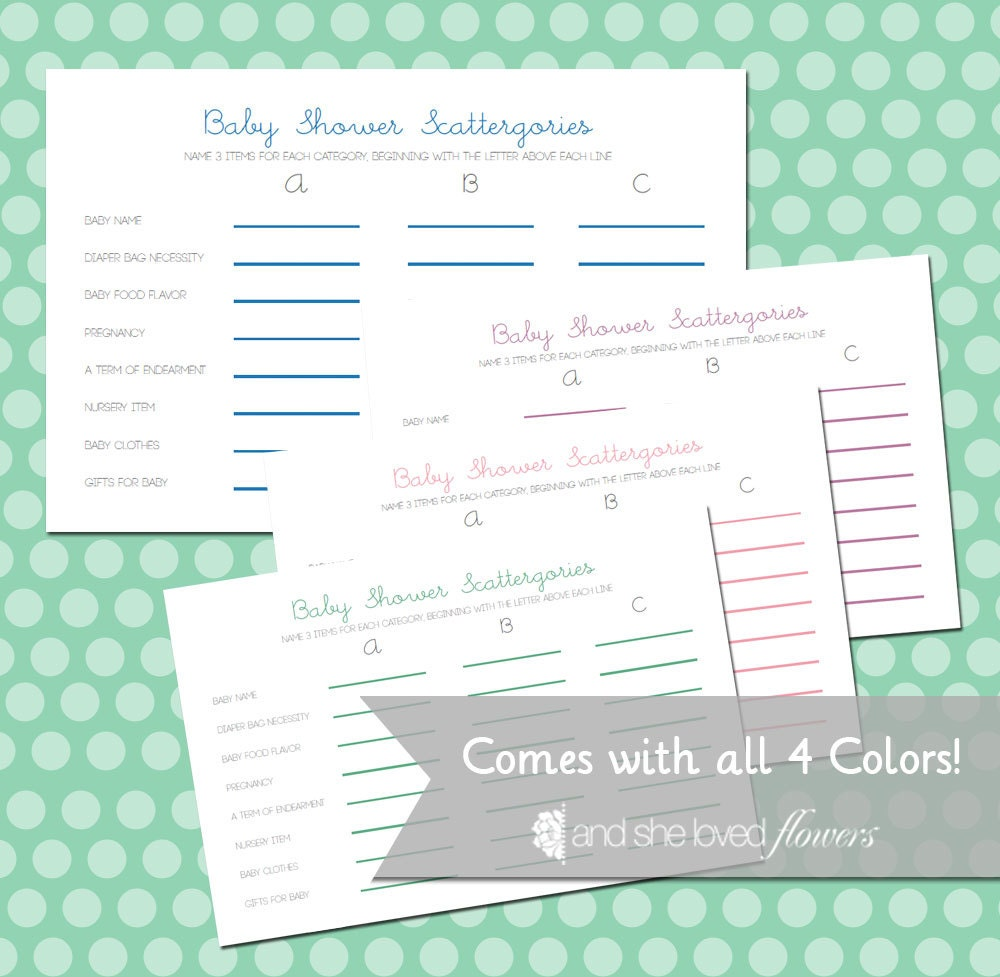 baby shower scattergories customizable diy printable game