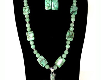 Green Matrix Jasper Cross Pendant Necklace and Earring Set